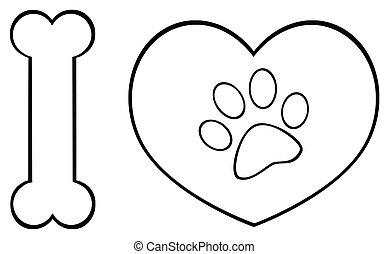 cuore, animali, amore, zampa, nero, logotipo, stampa, disegno, bianco, osso