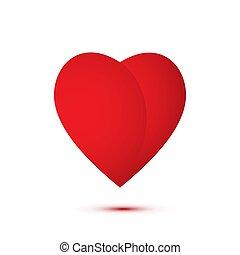 cuore, appartamento, illustrazione, vettore, logotipo, rosso
