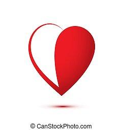 cuore, appartamento, illustrazione, vettore, mezzo,...