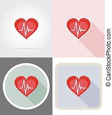 cuore, appartamento, sano, simbolo, icone, illustrazione, vettore