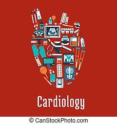 cuore, appartamento, simbolo, silhouette, cardiologia