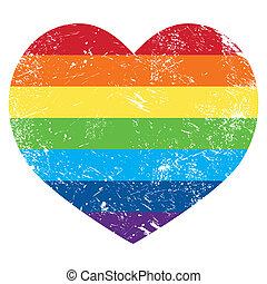 cuore, arcobaleno, diritti gai, bandiera, retro