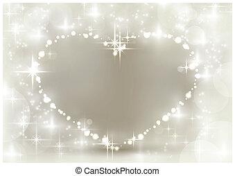 cuore, argento, sfavillante, natale