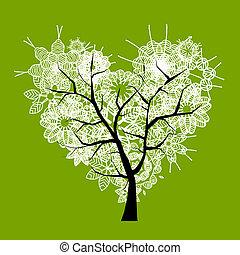 cuore, arte, albero, forma, disegno, tuo