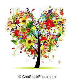 cuore, arte, albero, quattro, forma, disegno, seasons., tuo