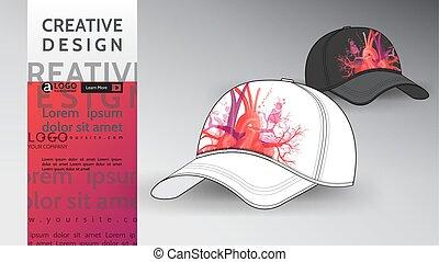 cuore, arte, berretto, su, illustrazione, vettore, disegno, beffare