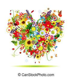 cuore, arte, quattro, forma, disegno, seasons., tuo