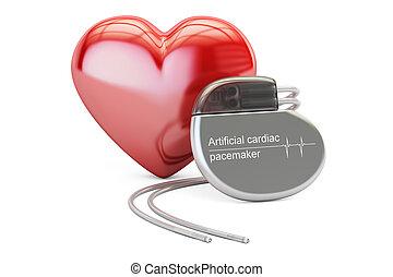 cuore, artificiale, interpretazione, pacemaker, cardiaco, rosso, 3d