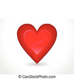 cuore, astratto, lucido, rosso