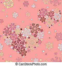 cuore, astratto, seamless, fiocco di neve