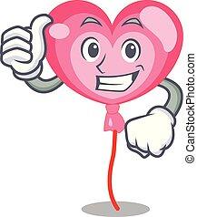 cuore, ballon, carattere, su, pollici, cartone animato