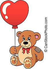 cuore, balloon, orso teddy, modellato