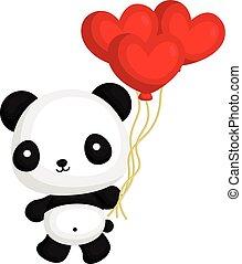 cuore, balloon, panda, presa a terra