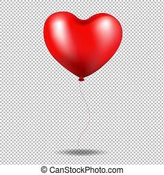cuore, balloon, trasparente, fondo, rosso