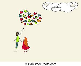 cuore, balloon., volo, modellato