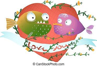 cuore, bambini, amore, fish, disegno, cartone animato, rosso