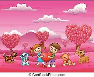 cuore, bambini, animale, grande, presa a terra, felice