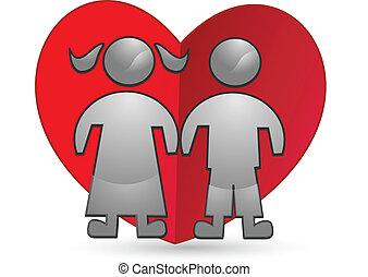 cuore, bambini, logotipo