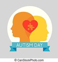 cuore, bambini, silhouette, puzzle, dentro, giorno, autism