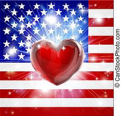 cuore, bandiera, america, amore, fondo