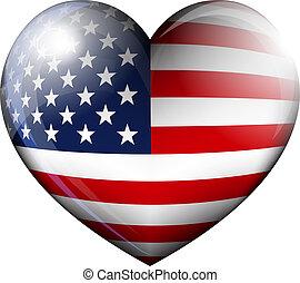 cuore, bandiera americana, icona