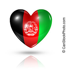 cuore, bandiera, amore, afghanistan, icona