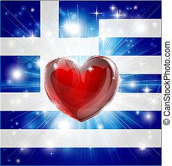 cuore, bandiera, amore, fondo, grecia