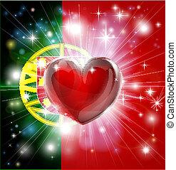cuore, bandiera, amore, portogallo, fondo