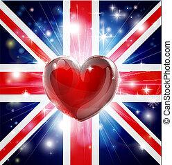 cuore, bandiera, amore, regno unito, fondo
