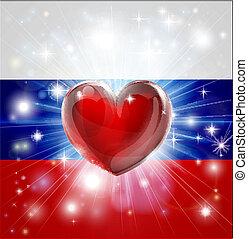 cuore, bandiera, amore, russia, fondo