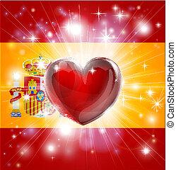 cuore, bandiera, amore, spagna, fondo
