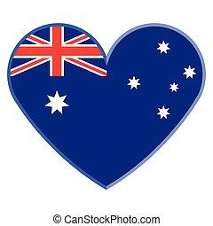 cuore, bandiera, australia, forma