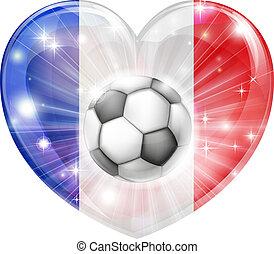 cuore, bandiera, calcio, francia