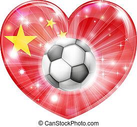 cuore, bandiera, calcio, porcellana