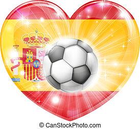 cuore, bandiera, calcio, spagna