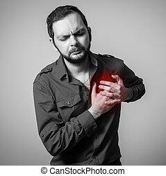 cuore, barbuto, dolore, detenere, uomo