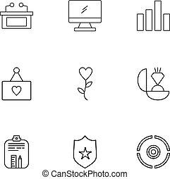 cuore, barre, set, monitor, icone, appunti, grafico, eps, vettore, tavola, anello, protetto, bersaglio