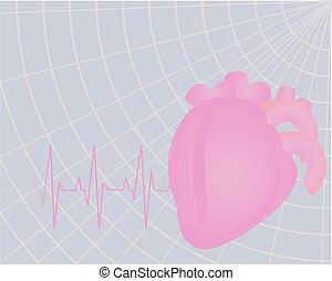 cuore, beating., elettrocardiogramma, colorito, disegno