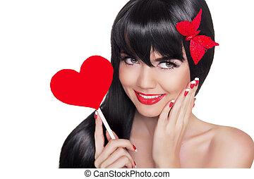 cuore, bellezza, labbra, presa a terra, ritratto, ragazza sorridente, rosso, felice