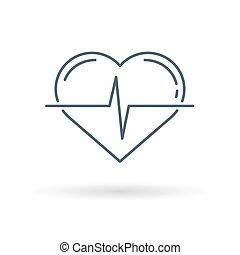 cuore, bianco, impulso, fondo, icona