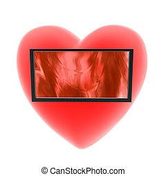 cuore, bianco, monitor, fondo