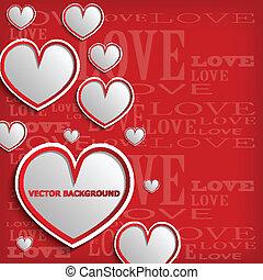 cuore, bianco rosso, fondo