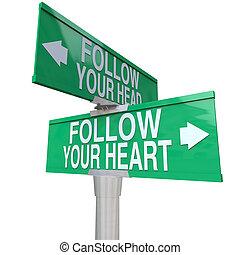 cuore, bidirezionale, -, segno, strada, seguire, tuo