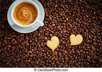 cuore, biscotti, modellato, espresso, due, caffè