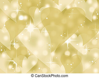 cuore, bokeh, oro, fondo, scintilla