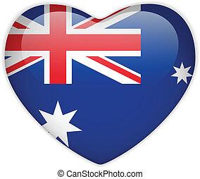 cuore, bottone, bandiera australia, lucido