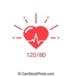 cuore, buono, sano, impulso, pressione, vettore, salute,...