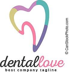 cuore, buono, umano, astratto, logotype, dente, vettore, ...