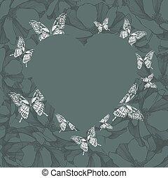 cuore, butterflies., floreale, vettore, fondo, illustrati