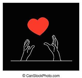 cuore, cadere, bello, rosso, mani